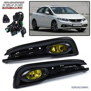 Fit For 2013 2014 2015 Honda Civic Yellow Bumper Lights Driving Fog Lamps Switch