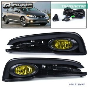 For 13 15 Honda Civic Driving Bumper Fog Lights Wiring Lamps Kit Switch