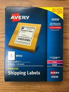 Avery 95930 Internet Shipping Labels 500 Labels 2 Per Sheet