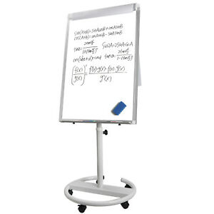 Whiteboard Dry Erase Easel Writing 36x25 Magnetic Adjustable Board Roll Around