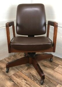 Design Oak Upholstered Executive Office Chair 1975 Mcm Superior Chaircraft Texas