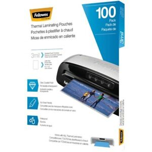 Fellowes 5743301 Thermal Laminating Pouches 100 Pk 3 Mil
