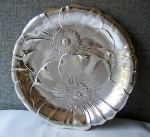 Wallace Sterling Silver Poppy 10 1 2 Plate Charger