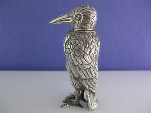 Sterling Silver Pepper Shaker Figural Bird Detailed