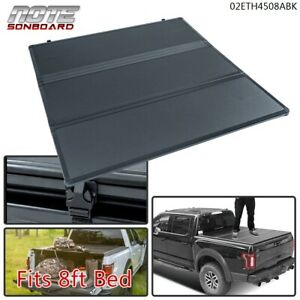 For 14 18 Silverado sierra Fleetside 8ft Bed Hard Solid Tri fold Tonneau Cover