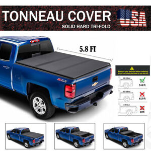 For 2019 2020 Chevy Silverado 1500 5 8 Ft Bed Tri Fold Hard Solid Tonneau Cover