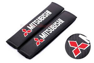 2x Car Seat Safety Belt Pad Cover Shoulder Strap Cushion Logo For Mitsubishi
