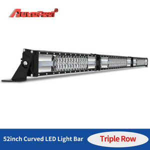 52 Inch 1250w Curved folded Led Light Bar Tri row Driving Off road Combo Drl Fog