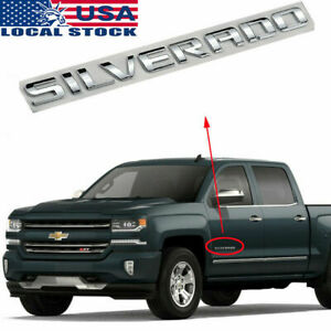 Chevy Silverado Emblem 07 19 Door tailgate Chrome Badge Sign Logo Letters Fender
