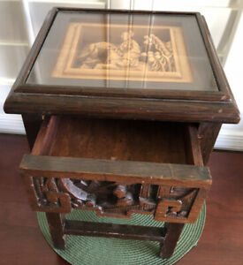 Antique Chinese Hand Carved Wood Accent Table