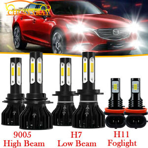 For Mazda 3 2004 2005 2006 Mazda3 Led Headlight 9005 H7 Bulbs H11 Fog Light 6x