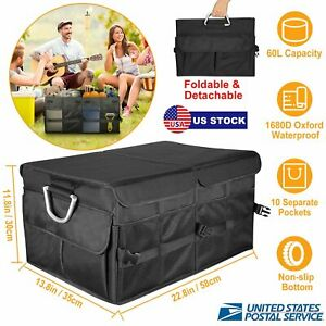 Car Trunk Storage Bag Organizer Box Collapsible Big Capacity Multi Compartments
