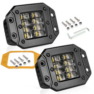 2x 5 Cree Flush Mount Led Pod Work Light Bar Spot Driving Off Road 4wd Quad Row