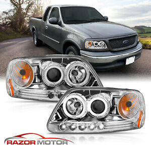 Hi Power Led Halos 1997 2003 Ford F 150 97 02 Expedition Projector Headlights