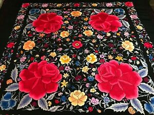 Fine Antique Vintage Chinese Canton Embroidered Silk Piano Shawl Embroidery 1
