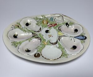 Antique Oyster Plate Union Porcelain Works Greenpoint Ny Marked 19th Century 2