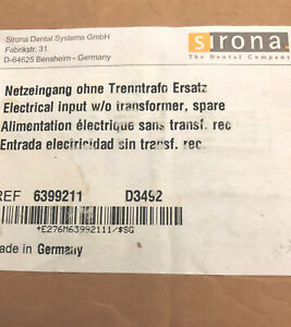 Sirona Dental 63 99 211 Cerec Electrical Input Spare W o Transformer new