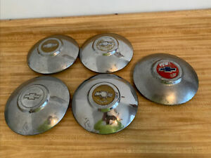 3 Vintage 1949 1950 Chevrolet Dog Dish Bow Tie Chrome Plated Hub Caps Set Of 3