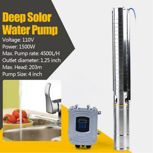 4 stainless Solar Water Pump Deep Well Dc Submersible Pump 1500w mppt Controller