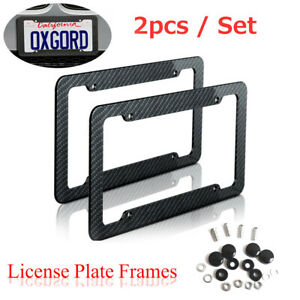 2pcs Black Car Carbon Look License Plate Frame Cover Front Rear Universal