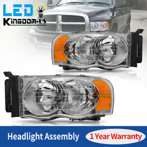 Headlight Assembly Kit For 2002 2005 Dodge Ram 1500 2500 3500 Pickup Head Lamps