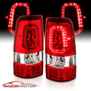 For 2003 2006 Silverado 04 06 Gmc Sierra Red Clear Led Taillights Left Right