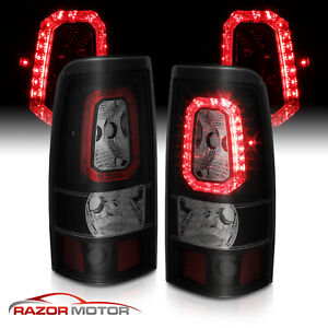 For 1999 2002 Chevy Silverado 1500 99 06 Gmc Sierra Smoke Led Tail Lights Lamps