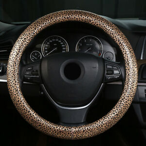 Leopard Print 38cm Car Steering Wheel Cover Pu Leather Non Slip Breathable Grip