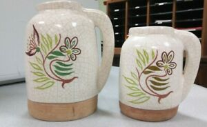 Barbara Willis Pottery Early Provincial Floral Large and Small Pitcher#x27;s