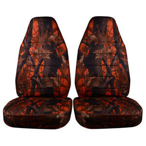 Camouflage Universal Car Front Seat Cover Protector Cushion Waterproof Orange Us