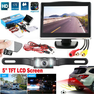 Wired Car Backup Camera Rear View System With Night Vision 5 Lcd Monitor Us