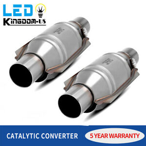 1pair 2pc Epa Catalytic Converter 2 Inlet Outlet Universal fit O2 Port Obd2