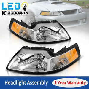 For 1999 2004 Ford Mustang Amber Corner Signal Reflector Chrome Headlights Lamps