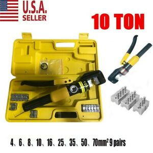 10 Ton Hydraulic Wire Battery Cable Lug Terminal Crimper Crimping Tool Usa