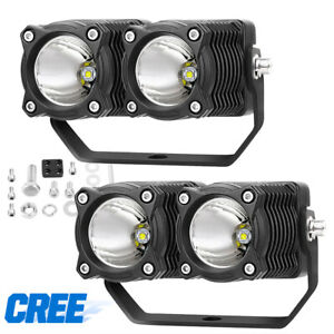 4inch 40w Cree Round Led 6500k Driving Spot Lights For Ford Jeep Off Road 12v X2
