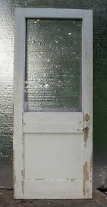 32 X79 Antique Vintage Solid Wood Wooden Office Side Back Door Window Glass Lite