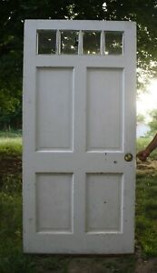 36 X78 Antique Vintage Old Exterior Wood Wooden Front Entry Door 4 Window Glass