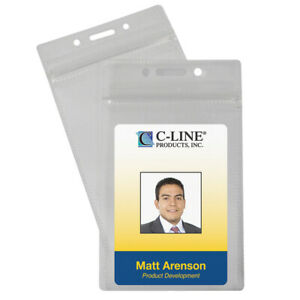 C line Products Inc Zippered Badge Holders Vertical 50 Pack