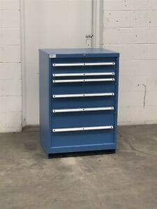Used Lista 6 Drawer 22 Deep 42 Tall Cabinet Industrial Tool Storage 2206 Vidmar