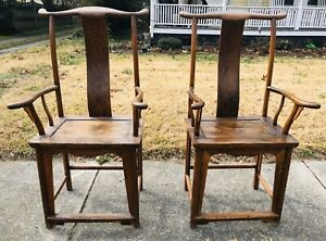 Antique Chinese Ming Yoke High Back Exotic Wood Armchairs C 1870 Chair Pair