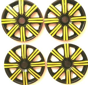 15 Inch Wheel Covers Hubcaps Universal Wheel Rim Cover 4 Pieces Set Black Yellow