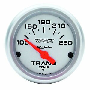 Auto Meter Ultra Lite Pro Comp Electric Trans Temp Gauge 100 250 Deg F 2 1 16
