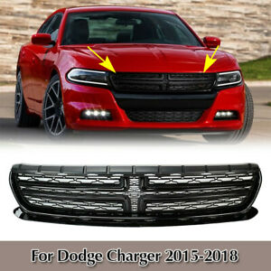 For Dodge Charger 2015 2018 2016 2017 Glossy Black Front Upper Bumper Grill Abs