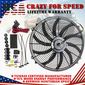 16 Inch Electric Pull push Radiator Cooling Fan 12v High Cfm Thermostat Kit