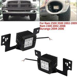 3x Front Bumper Fog Light Mounting Brackets 2x 3 Inch Led Square Lights F A2a2