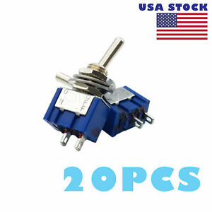 20 X Mts 101 2 Position Mini Toggle Switches 2 Pin Spst On off 6a 250vac Us Ship