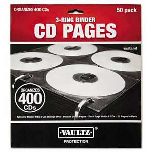Vaultz Two sided Cd Refill Pages For Three ring Binder 50 pack 826030014158