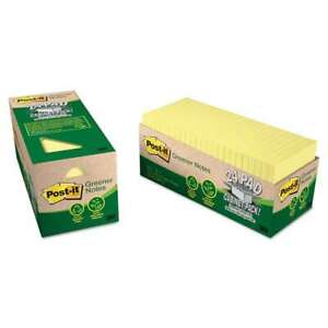 Post it Greener Notes Recycled Note Pad Cabinet Pack 3 X 3 Can 051131983526