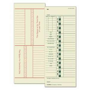 Tops Time Card For Acroprint simplex Weekly Two sided 3 1 2 X 025932125713
