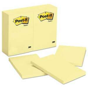 Post it Notes Original Pads In Canary Yellow 4 X 6 100 sheet 021200661204